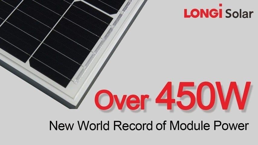 Longi Stretches Panel Output To 450 Watts